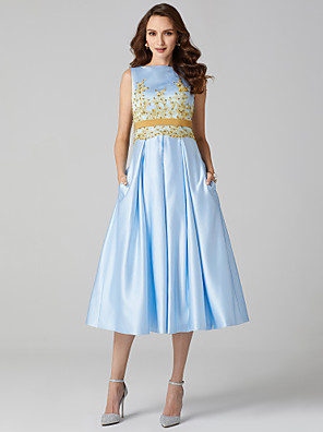 cheap Special Occasion Dresses-A-Line Elegant Floral Pastel Colors Cocktail Party Prom Dress Jewel Neck Sleeveless Tea Length Satin with Pleats Appliques 2020
