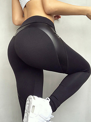 cheap Leggings-Women's Sports Sporty Legging - Solid Colored, Vintage Style / Fairytale Theme High Waist Black M L XL