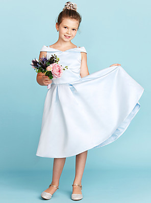 cheap Junior Bridesmaid Dresses-Princess / A-Line Off Shoulder Tea Length Satin Junior Bridesmaid Dress with Pleats