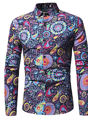 cheap Men's Shirts-Men's Paisley Tribal Print Shirt Vintage Street chic Going out Red / Khaki / Navy Blue / Long Sleeve
