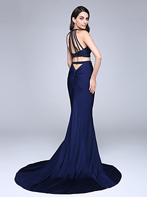 cheap Wedding Wraps-Two Piece Mermaid / Trumpet Two Piece Formal Evening Dress Jewel Neck Sleeveless Court Train Jersey with Beading Sequin 2020