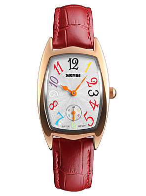 cheap Wedding Dresses-SKMEI Women's Wrist Watch Square Watch Quartz Ladies Water Resistant / Waterproof Leather White / Silver / Red Analog - Gold / White White / Silver Silver / Red One Year Battery Life / Japanese
