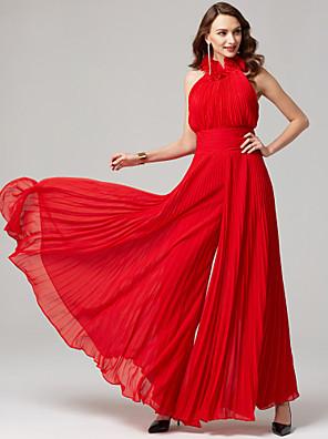 cheap Evening Dresses-Jumpsuits Hot Red Wedding Guest Formal Evening Dress High Neck Sleeveless Floor Length Chiffon with Pleats 2020