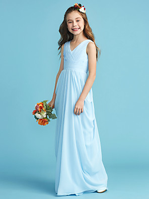 cheap Junior Bridesmaid Dresses-A-Line / Princess V Neck Floor Length Chiffon Junior Bridesmaid Dress with Sash / Ribbon / Criss Cross / Pleats