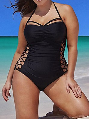 cheap Plus Size Swimwear-Women's One-piece Swimsuit Criss Cross Solid Colored Halter Neck Swimwear Bathing Suits Black