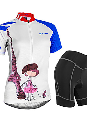 cheap Sport Watches-Nuckily Women's Short Sleeve Cycling Jersey with Shorts White Bike Shorts Jersey Clothing Suit Waterproof Breathable 3D Pad Reflective Strips Sweat-wicking Sports Polyester Spandex Painting Mountain