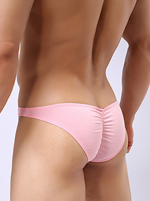 cheap Men's Exotic Underwear-Men's Ruched Sexy Briefs Underwear Solid Colored 1 Piece Black White Blushing Pink M L XL
