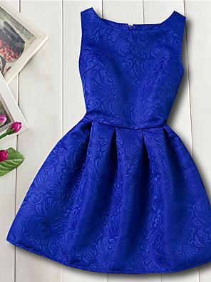 cheap Girls' Dresses-Kids Girls' Basic Daily Flower Jacquard Sleeveless Dress Red