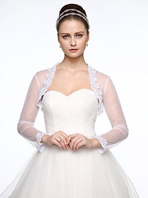cheap Buy More, Save More-Long Sleeve Shrugs Lace / Tulle Wedding / Party / Evening Women's Wrap With Appliques