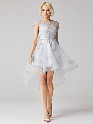 cheap Cocktail Dresses-Back To School A-Line Floral High Low Cute Homecoming Cocktail Party Dress Illusion Neck Short Sleeve Asymmetrical Tulle with Sash / Ribbon Appliques 2020 / Illusion Sleeve Hoco Dress