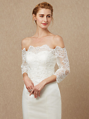 cheap Wedding Wraps-3/4 Length Sleeve Lace / Tulle Wedding / Party / Evening Women's Wrap With Appliques / Zipper / Paillette Shrugs