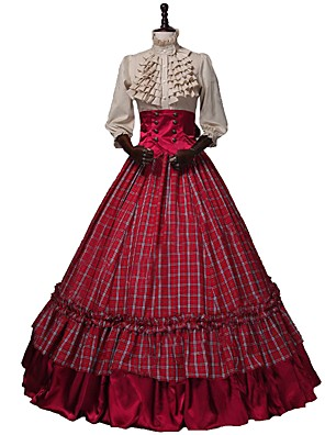 cheap Wedding Slips-Victorian Renaissance Costume Women's Outfits Red+Golden Vintage Cosplay 50% Cotton / 50% Polyester 3/4 Length Sleeve Puff / Balloon Sleeve