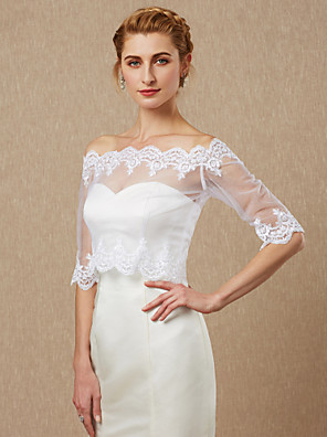 cheap Wedding Wraps-Half Sleeve Coats / Jackets Lace / Tulle Wedding / Party / Evening Women's Wrap With Appliques / Button
