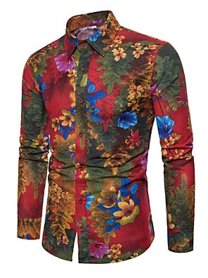 cheap Men's Shirts-Men's Plus Size Floral Print Slim Shirt - Linen Daily Classic Collar Black / Red / Long Sleeve