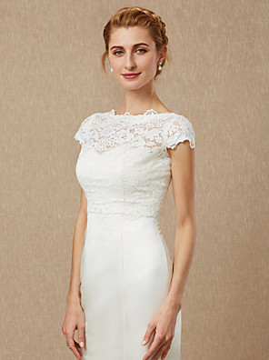 cheap Wedding Wraps-Short Sleeve Shrugs Lace Wedding / Party / Evening Women's Wrap With Lace / Button