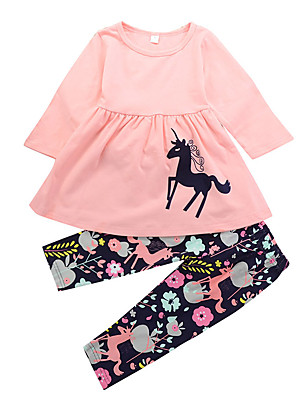 cheap Boys' Clothing Sets-Toddler Girls' Casual Daily Holiday Unicorn Floral Print Animal Ruched Modern Style Cartoon Long Sleeve Long Long Clothing Set Blushing Pink / Cute