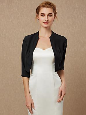 cheap Wedding Wraps-3/4 Length Sleeve Coats / Jackets Chiffon Wedding / Party / Evening Women's Wrap / Bolero With Draping / Solid