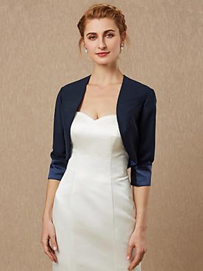 cheap Wedding Wraps-3/4 Length Sleeve Shrugs Satin Wedding / Party / Evening Women's Wrap / Bolero With Draping / Solid
