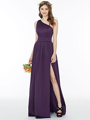 cheap Bridesmaid Dresses-A-Line / Ball Gown One Shoulder Floor Length Chiffon Bridesmaid Dress with Sash / Ribbon / Split Front / Pleats