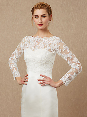 cheap Wedding Wraps-Long Sleeve Shrugs Lace / Tulle Wedding / Party / Evening Women's Wrap With Appliques / Button