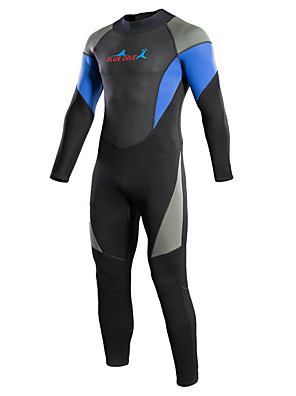 cheap Special Occasion Dresses-Bluedive Men's Women's Full Wetsuit 3mm Neoprene Diving Suit Thermal / Warm Quick Dry Long Sleeve Back Zip - Swimming Diving Surfing Patchwork / Stretchy
