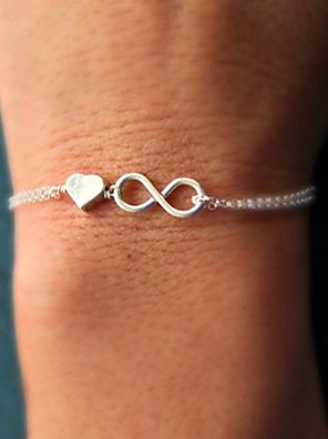cheap Quartz Watches-Women's Chain Bracelet Charm Bracelet Twisted Heart Love Infinity Dainty Ladies Simple Unique Design Basic Alloy Bracelet Jewelry Gold / Silver For Party Gift Daily Casual