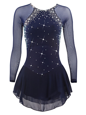 cheap Ice Skating Dresses , Pants & Jackets-Figure Skating Dress Women's Girls' Ice Skating Dress Deep Blue White Sky Blue Spandex High Elasticity Competition Skating Wear Quick Dry Anatomic Design Handmade Classic Long Sleeve Ice Skating