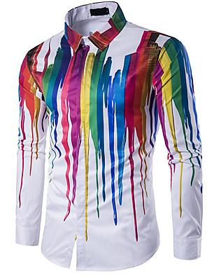 cheap Men's Shirts-Men's Daily Shirt Geometric Print Long Sleeve Slim Tops Classic Collar White / Summer
