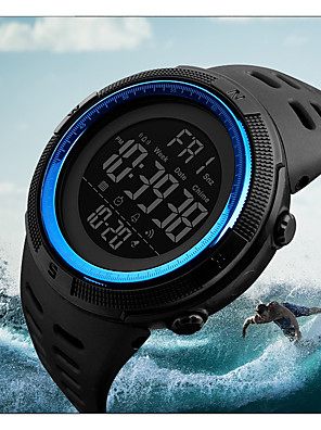 cheap Smart Watches-Men's Sport Watch Military Watch Wrist Watch Japanese Digital 50 m Water Resistant / Water Proof Alarm Calendar / date / day PU Band Digital Fashion Black - Blue Brown / Gold Gold / Red Two Years