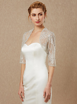 cheap Wedding Wraps-Half Sleeve Shrugs Lace Wedding / Party / Evening Women's Wrap With Beading / Lace