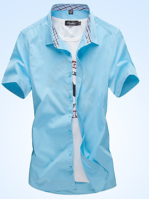 cheap Men's Shirts-Men's Check Solid Colored Shirt - Cotton Business Basic Daily Work Beach Wine / White / Blushing Pink / Light Green / Navy Blue / Light Blue / Short Sleeve