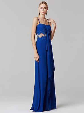 cheap Prom Dresses-Sheath / Column See Through Prom Formal Evening Dress Spaghetti Strap Sleeveless Floor Length Chiffon with Beading Appliques 2020