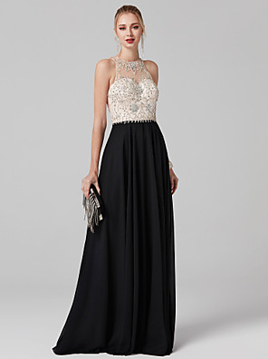 cheap Evening Dresses-Ball Gown Elegant & Luxurious Beaded & Sequin Prom Formal Evening Dress Illusion Neck Sleeveless Floor Length Chiffon Tulle with Crystals Beading 2020