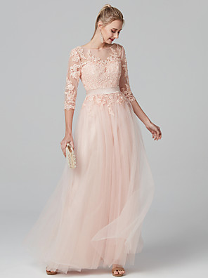 cheap Special Occasion Dresses-Ball Gown Pastel Colors Holiday Cocktail Party Prom Dress Illusion Neck 3/4-Length Sleeve Floor Length Lace Over Tulle with Appliques 2020 / Illusion Sleeve / Formal Evening