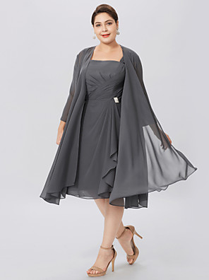 cheap Cocktail Dresses-A-Line Straps Knee Length Chiffon Sleeveless Elegant / Plus Size Mother of the Bride Dress with Criss Cross / Pleats Mother's Day 2020