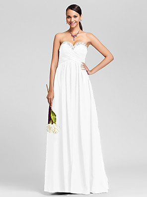 cheap Special Occasion Dresses-Sheath / Column Strapless / Sweetheart Neckline Floor Length Chiffon Bridesmaid Dress with Criss Cross / Beading / Draping / Sparkle & Shine