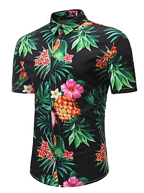 cheap Men's Exotic Underwear-Men's Plus Size Shirt Floral Tropical Fruit Print Short Sleeve Tops Boho Classic Collar Black / Summer / Beach