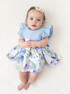 cheap Girls' Dresses-Toddler Girls' Boho Party Holiday Solid Colored Patchwork Jacquard Ruffle Lace up Patchwork Sleeveless Dress Light Blue / Cute
