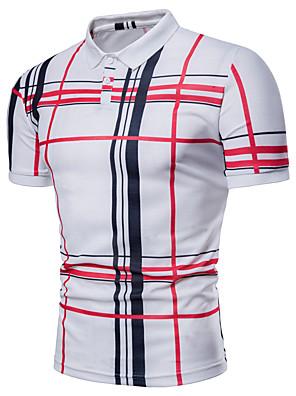 cheap Men's Tees-Men's Polo Striped Plaid Plus Size Print Short Sleeve Daily Tops Basic Shirt Collar White Navy Blue Gray / Summer