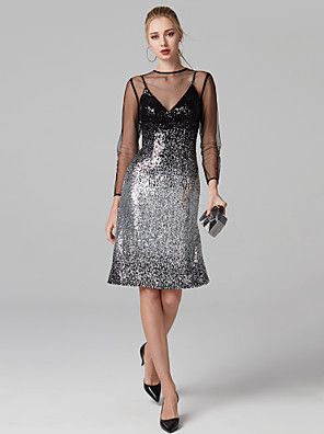cheap Special Occasion Dresses-Back To School Sheath / Column Keyhole Beaded & Sequin Cocktail Party Formal Evening Dress Illusion Neck Long Sleeve Knee Length Sequined with Sequin Bandage 2020 / Illusion Sleeve Hoco Dress