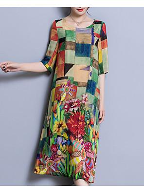 cheap Print Dresses-Women's Plus Size Dress - 3/4 Length Sleeve Color Block Patchwork Summer U Neck Chinoiserie Daily Loose Rainbow L XL XXL XXXL XXXXL XXXXXL