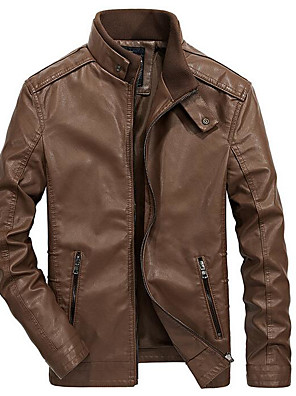 cheap Men's Jackets & Coats-Men's Daily Spring Regular Leather Jacket, Solid Colored Stand Long Sleeve PU Brown / Black