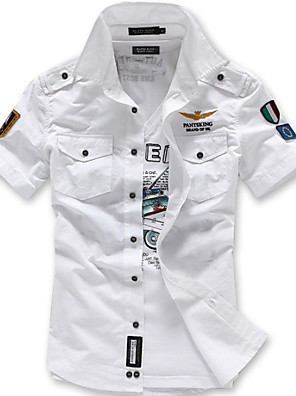 abordables Camisas de Hombre-Hombre Geométrico Delgado Camisa Chic de Calle Militar Diario Blanco / Negro / Azul Piscina / Sin Mangas