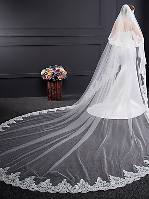 cheap Wedding Veils-Two-tier Voiles & Sheers / Embroidery Wedding Veil Cathedral Veils with Embroidery Tulle / Classic