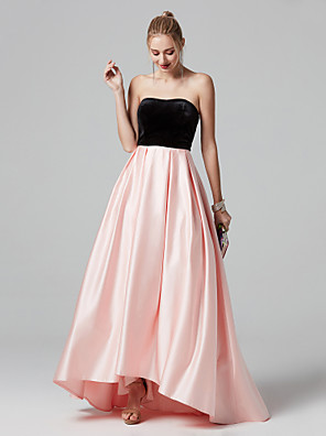 cheap Evening Dresses-A-Line Color Block Pink Prom Formal Evening Dress Strapless Sleeveless Asymmetrical Satin Velvet with Pleats 2020