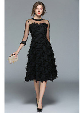 cheap Junior Bridesmaid Dresses-A-Line Hot Black Holiday Cocktail Party Dress Illusion Neck 3/4 Length Sleeve Knee Length Tulle with Appliques 2020