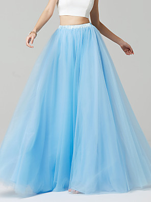 cheap Bridesmaid Dresses-Blue A-Line Floor Length Tulle Bridesmaid Dress with by LAN TING BRIDE®