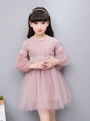 cheap Girls' Dresses-Kids Girls' Simple Vintage Basic Party Daily Solid Colored Jacquard Lace Embroidered Long Sleeve Dress White / Cotton