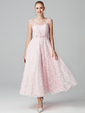 cheap Prom Dresses-A-Line Floral Pink Cocktail Party Prom Dress Illusion Neck Short Sleeve Ankle Length Lace with Appliques 2020