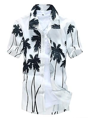 cheap Men's Shirts-Men's Plus Size Trees / Leaves Print Slim Shirt Beach Spread Collar White / Yellow / Summer / Short Sleeve